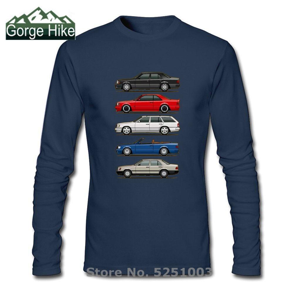 Pila de Mercedes W124 C/E/S ClassRound cuello Tops de manga larga o-Cuello T camisa de algodón orgánico ropa de jóvenes estilo de coche camiseta