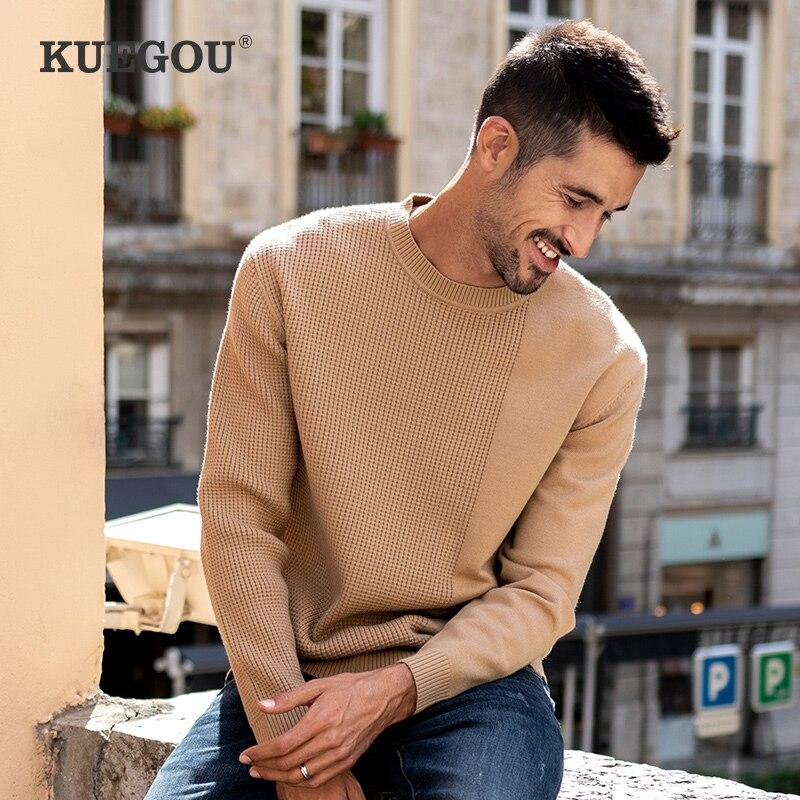 KUEGOU الخريف الشتاء ملابس الرجال سترة الدافئة البلوفرات البلوزات الكاكي رجل محبوك الجاكار الأزياء أعلى زائد حجم YYZ-2202