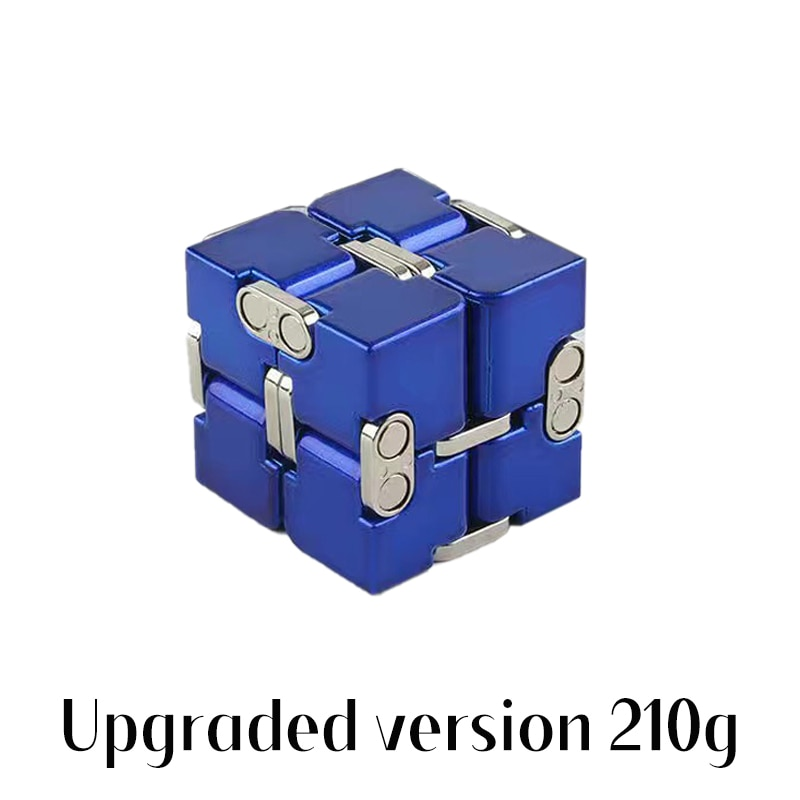 Stress Relief Toy Premium Metal Infinity Cube Portable Decompresses Relax Toys for Children Adults Upgraded version 210g enlarge