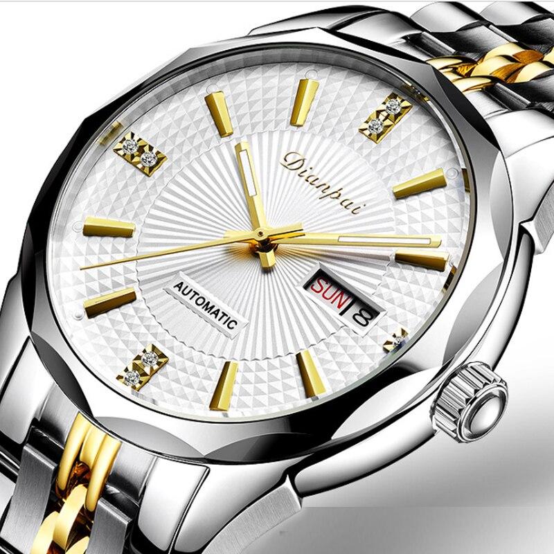 Men's Automatic Mechanical Watch Precision Steel Band Watch Luminous Waterproof Double Calendar Diamond Face Business Watch