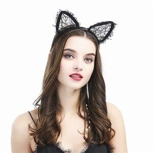 Sexy Lace Hair Band Halloween Masquerade Sweet Bunny Ears Headband Rabbit Ear For Party Headwear Accessories Маска Хэллоуина