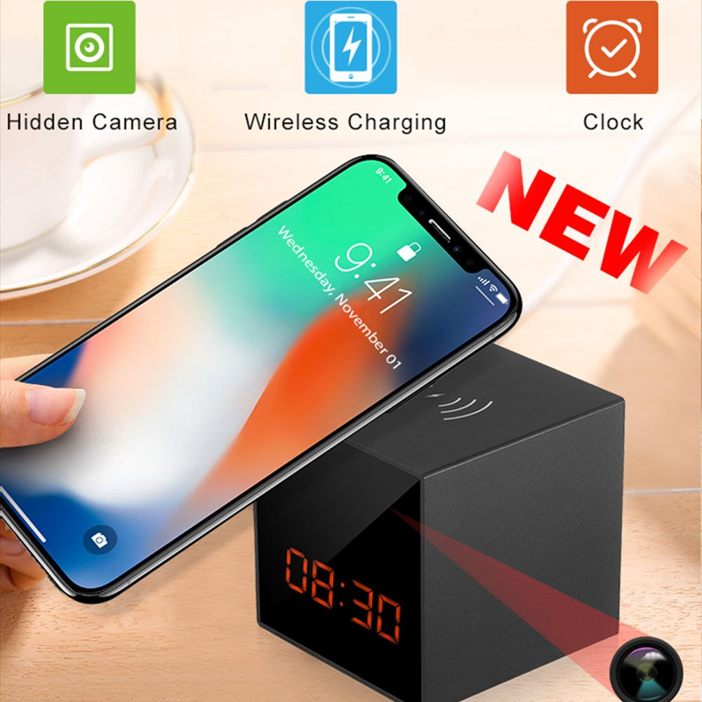 WiFi IP Camera Mobile Wireless Charger Table Clock Video Security Mini IP Camera Full HD 1080P Invis