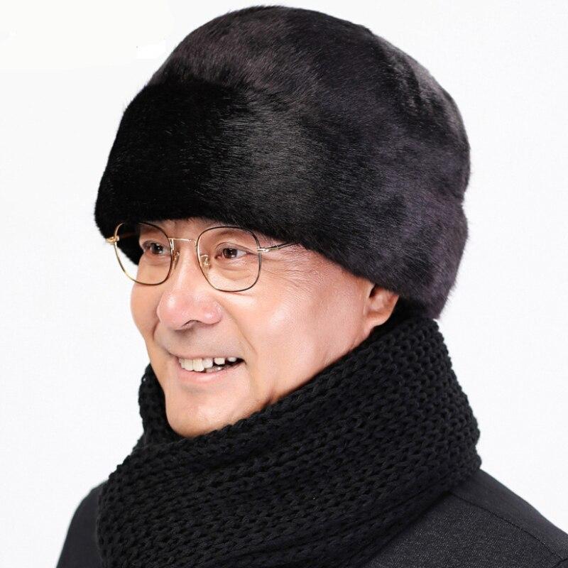 AliExpress - HT2667 Men Cap Hat Solid Thick Warm Winter Hat Mink Fur Earflap Cap Casual Male Russian Hat Male Winter Windproof Bomber Hat
