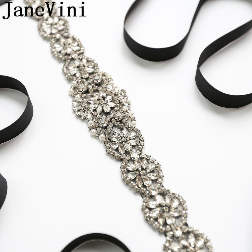 JaneVini-حزام زفاف كريستالي فضي لامع ، شريط مطرز بالخرز ، إكسسوارات فستان ، Novia