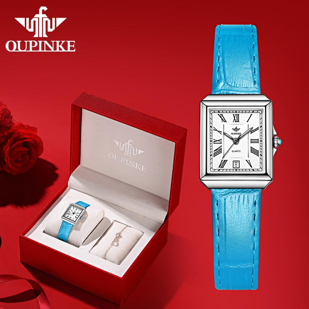 OUPINKE Women Watches 1 set Bracelet Swiss Quartz Movement Watch Luxury Ladies Leather Rose Gold Wrist Watch Gifts For Women enlarge