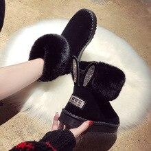 Bottines pour femmes femmes bottes en cuir véritable véritable fourrure de renard marque chaussures dhiver chaud noir bout rond décontracté femme bottes de neige