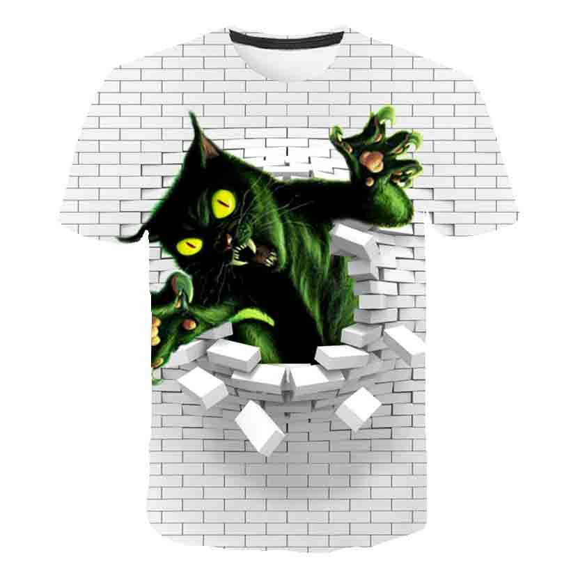 Nuevo diseño de pared de moda, camisetas de gato negro 3D para niños, camisetas de 8 diseños para niños, camisetas para niñas de 4 a 14 años, camisetas para perros, camisetas de chicos