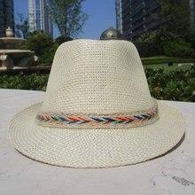 Chapeau de soleil unisexe dété décontracté   Chapeau de paille Panama pour femmes plage Jazz hommes, chapeaux avec couleur corde de chanvre, Chapeau pliable
