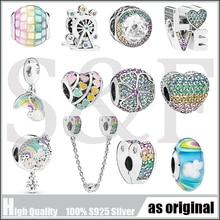 Rainbow Series Charms 100& 925 Sterling Silver fine Pendants Beads Fit Original Pandora Charm Bracelet Jewelry making