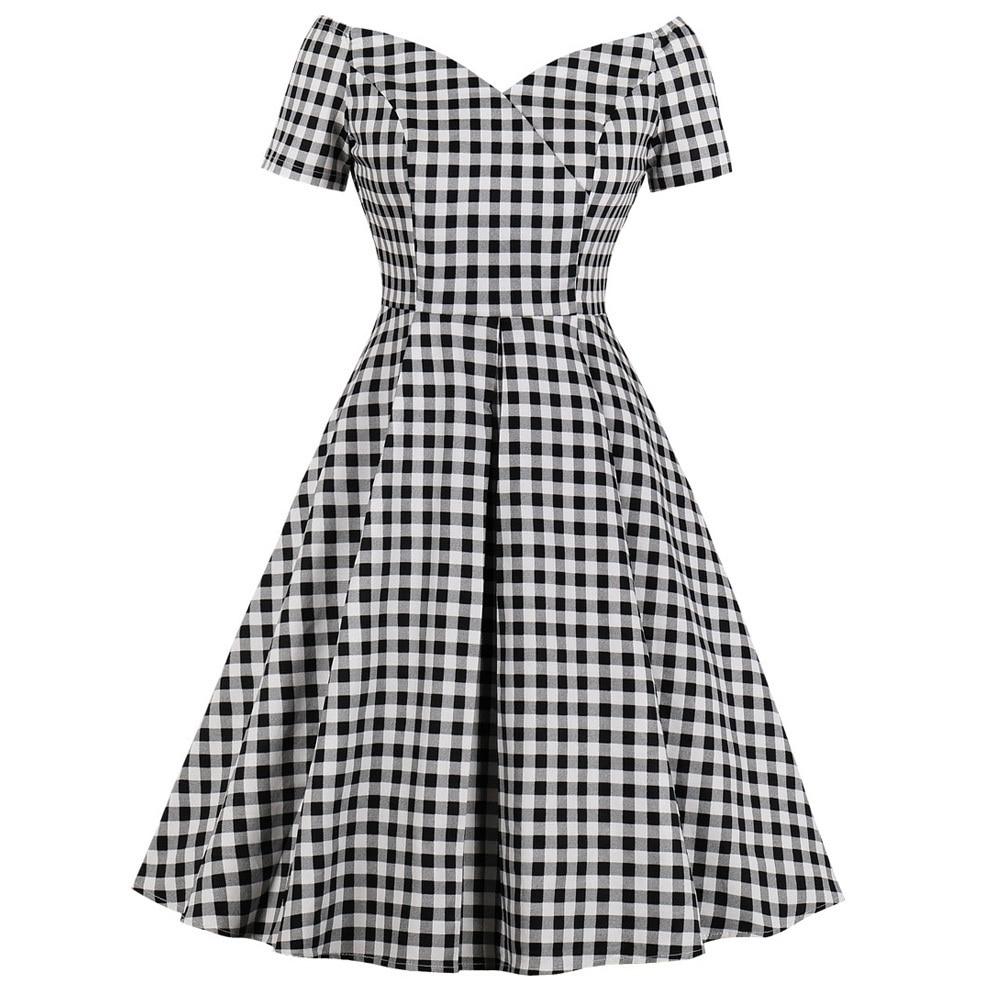Vestido de verano Retro con cuello de pico, estampado a cuadros, Pin up, Estilo Vintage, Swing Check Evening, Rockabilly