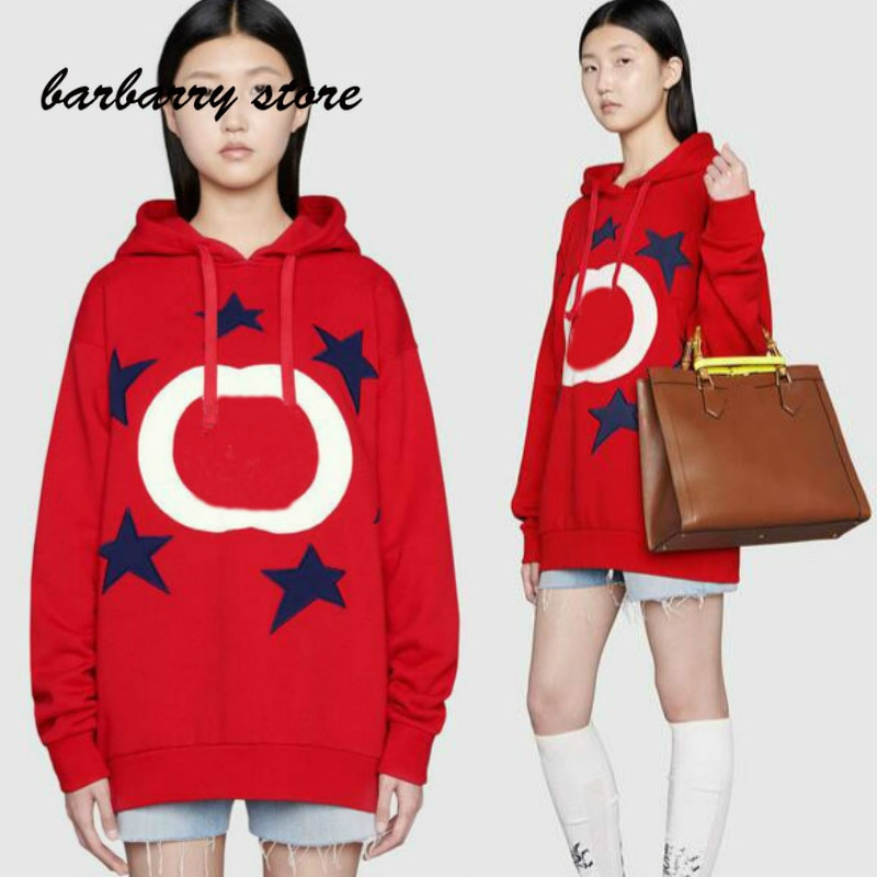 21 luxury design embroidered letters five pointed star printing fashion women's top versatile hooded loose long sleeve Pullover