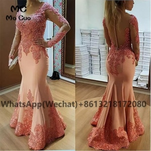 2021 African Mermaid Evening Dresses Long Sleeves Lace Appliques Button Elastic Satin Robe De Soiree Evening Prom Dress