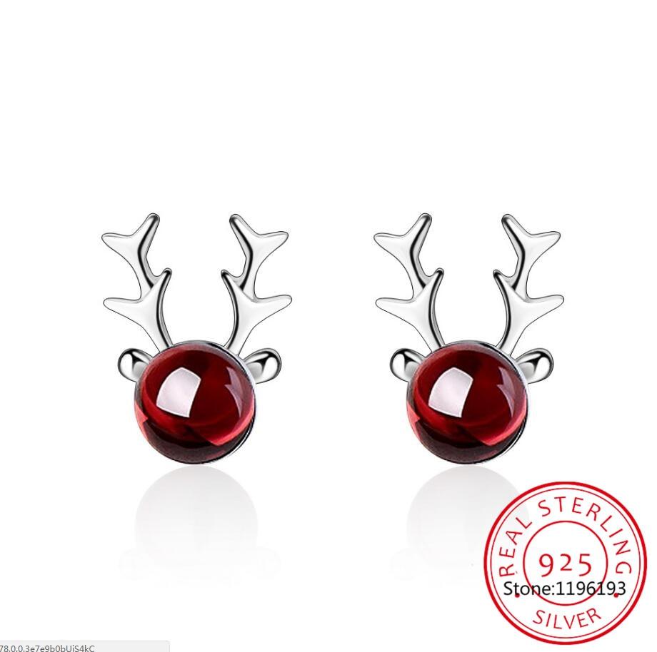 Новые-милые-Лось-с-изображением-оленьих-рогов-оленя-Красный-Гранат-Серьги-для-женщин-трендовые-Творческий-925-пробы-рождественские-украшени