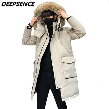 Men's Winter Down Jacket Coats Thick Warm Detachable Hooded Fur Collar  Puffer Coat Parkas Male Lengthen White Duck Down Jacket
