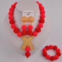 opaque red african wedding beads costume jewelry set fzz105