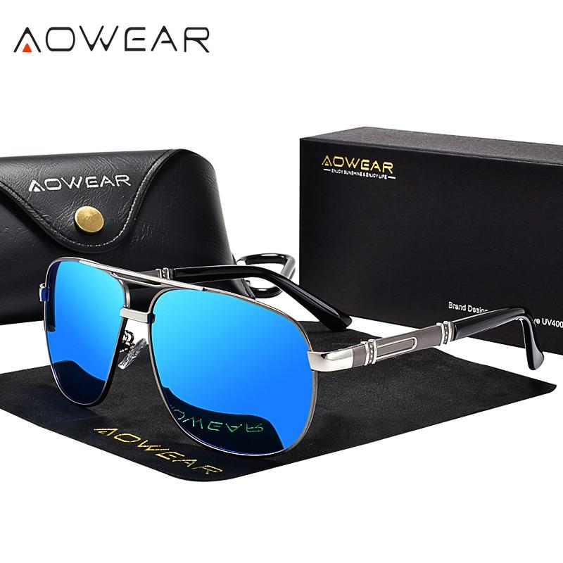 AOWEAR Mens Luxury Oversize Sunglasses for Men Polarized Vintage Driving Mirror Sunglass Brand Desig