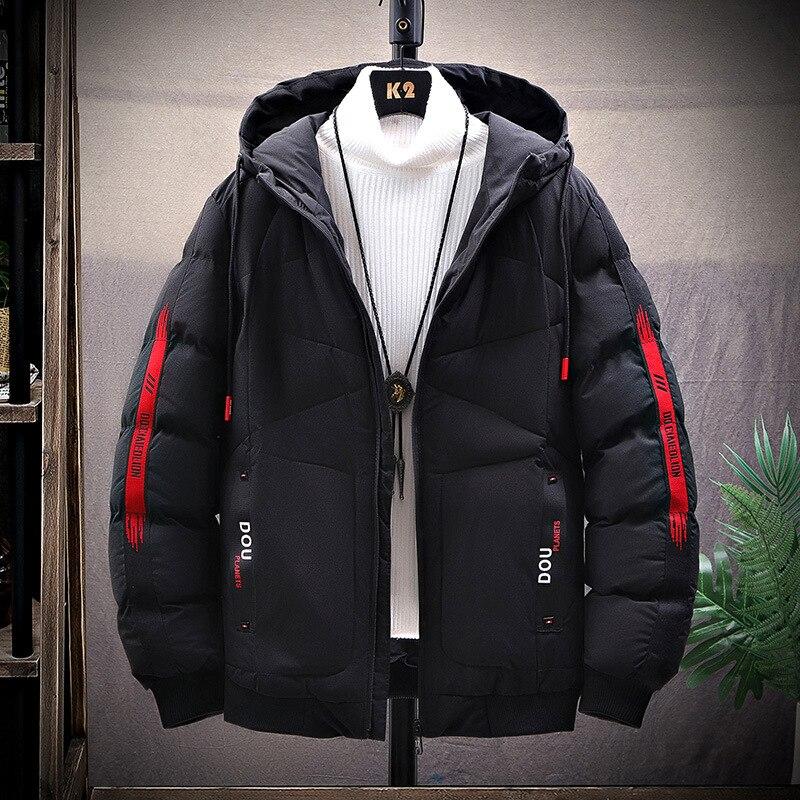 Мужская стеганая куртка с капюшоном, новинка 2021, модные облегающие повседневные пальто в Корейском стиле, зимняя куртка, Мужская короткая х...