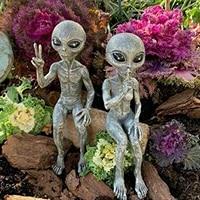 outer space alien statue martians garden figurine set garden decoration outdoor jardineria decoracion support drop shipped