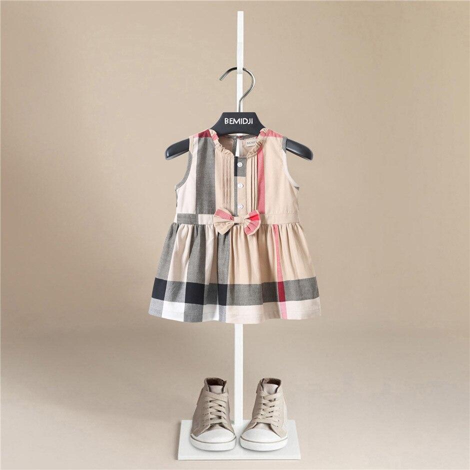 Vestido de verano con cuello de encaje para niñas, vestido sin mangas, vestido de princesa de algodón informal a la moda para niños, ropa infantil para bebés