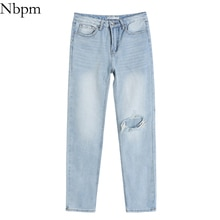 Nbpm Women 2021 Chic Fashion With Hole Ripped Woman Jeans Female Student Jeans Vintage High Waist Wa