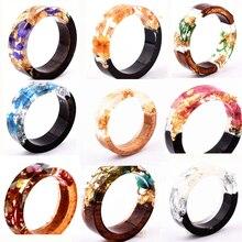 새로운 디자인 에폭시 반지 지우기 나무 수 지 반지 패션 수 제 말린 된 꽃 에폭시 웨딩 쥬얼리 사랑 반지 여성을위한