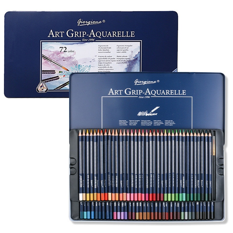 AliExpress - 72Colors Watercolor Pencil Water Soluble Colored Pencils Iron box with brush pen for Artist Drawing Children School Supplies