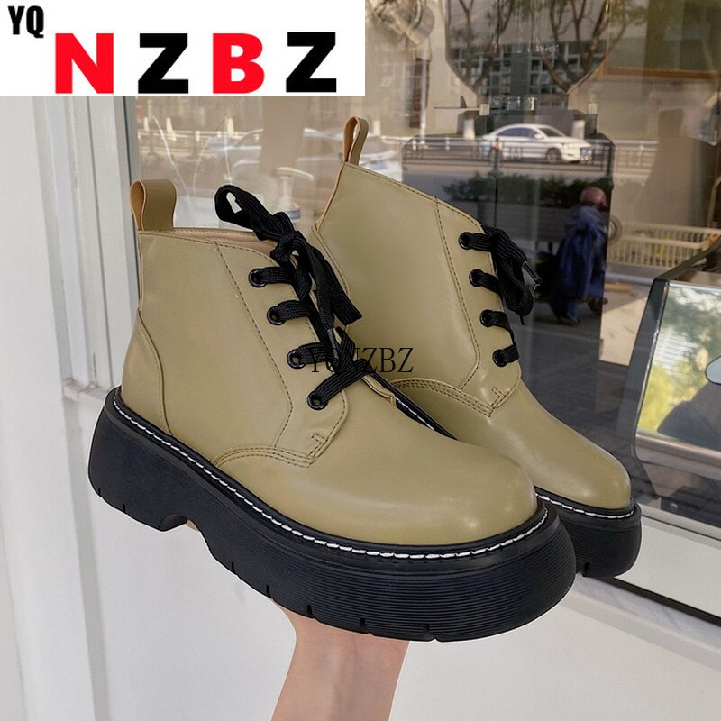 Women Lace Up New Boots 2021 Female Shoes Luxury Designer Round Toe Rock Med Ladies Ankle Wedge Rubb