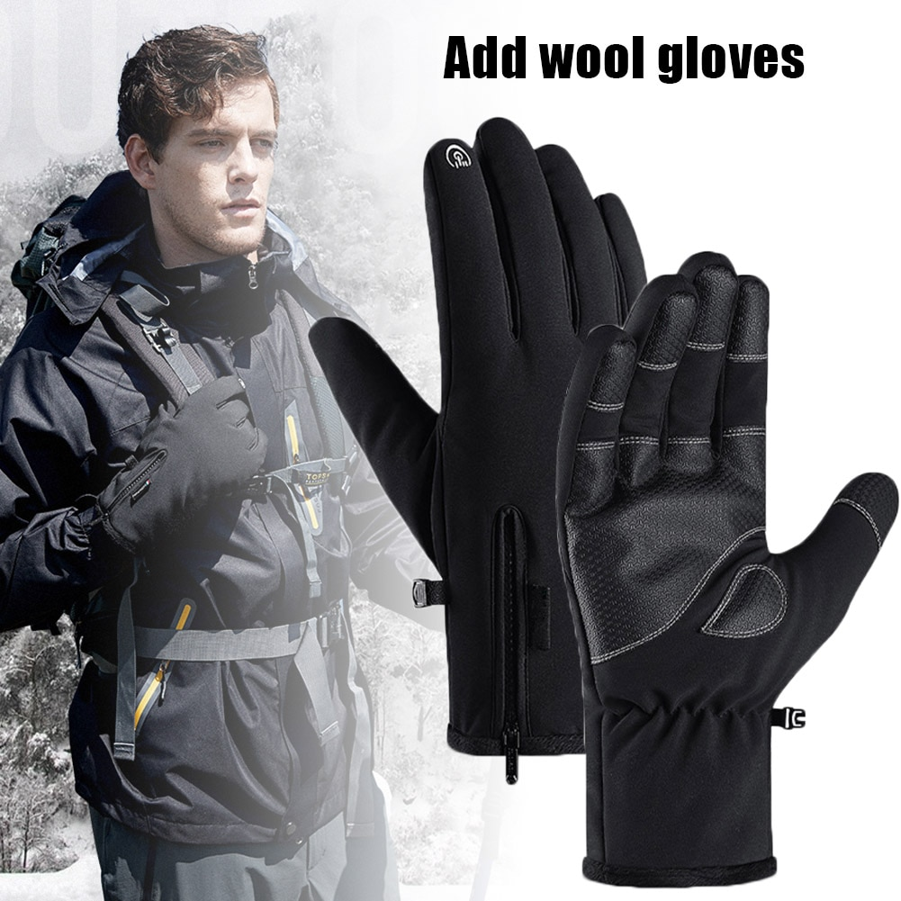 Newly Cycling Gloves Warm Touching Screen Windproof Waterproof Non-slip Gloves for Running Riding