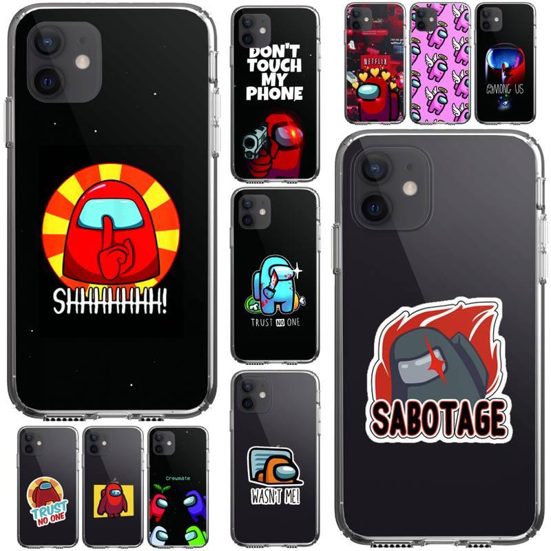 Among Us Phone Case For Iphone 5 6 7 8 11 12 Plus XR X XS SE2020 11/12PRO Max Transparent Cases