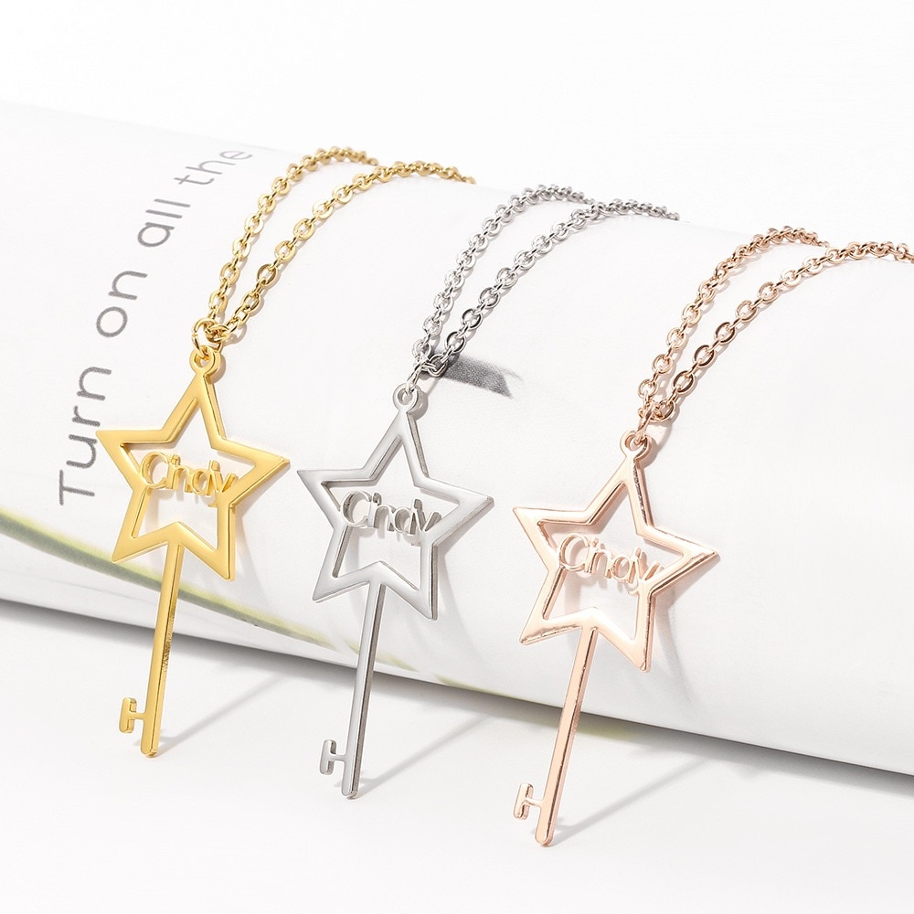 HUHUI Custom Name Necklace Personalized Five-pointed Star Key Pendant Stainless Steel Jewelry For Women Unisex Anniversary Gift