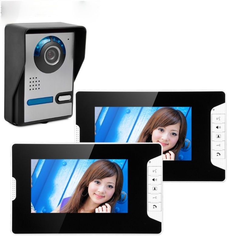 """Wired 7""""Inch Monitor Video Doorbell Door Phone Video Intercom Security Night Vision 1 Camera 2 Monitor System enlarge"""