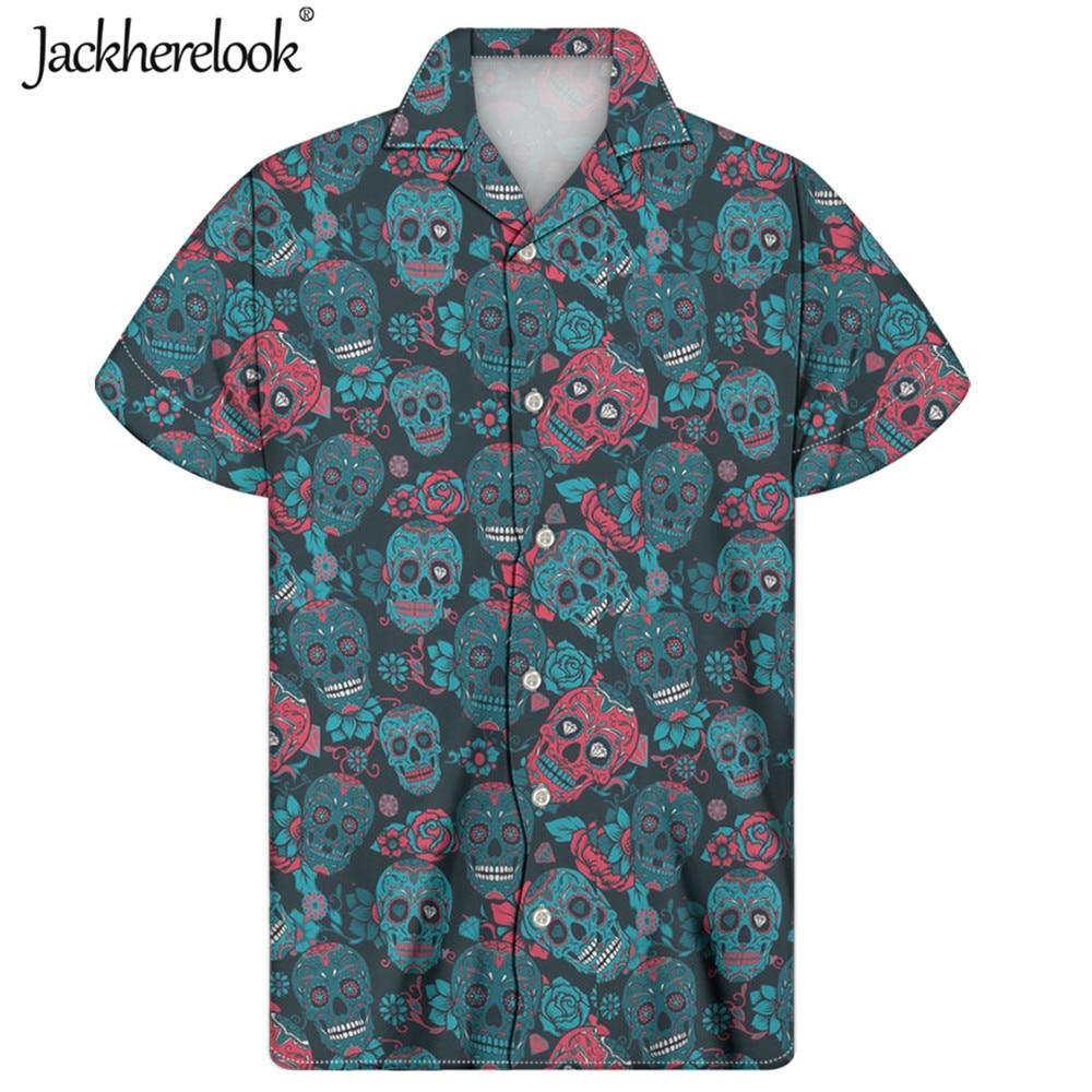 Jackherelook-Camisa hawaiana con botones para Hombre, Camisa masculina de manga corta, con...