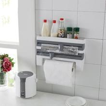 Kitchen Organizer Cling Film Sauce Bottle Storage Rack Paper Towel Holder Rack Wall Roll Paper for Home Storage Supplies