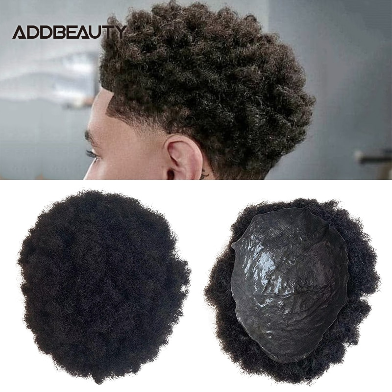 Full PU Afro Hair Men Toupee PU 0.04-0.06cm Human Hair Wig Indian Remy Hair System Men Hairpiece 4mm Wave Natural Color 6inch