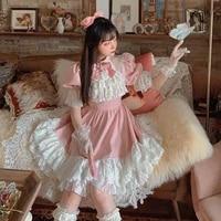 princess sweet lolita bobon21 japanese sweet high waist bubble sleeves dress garden french vintage lace chiffon dress d1879