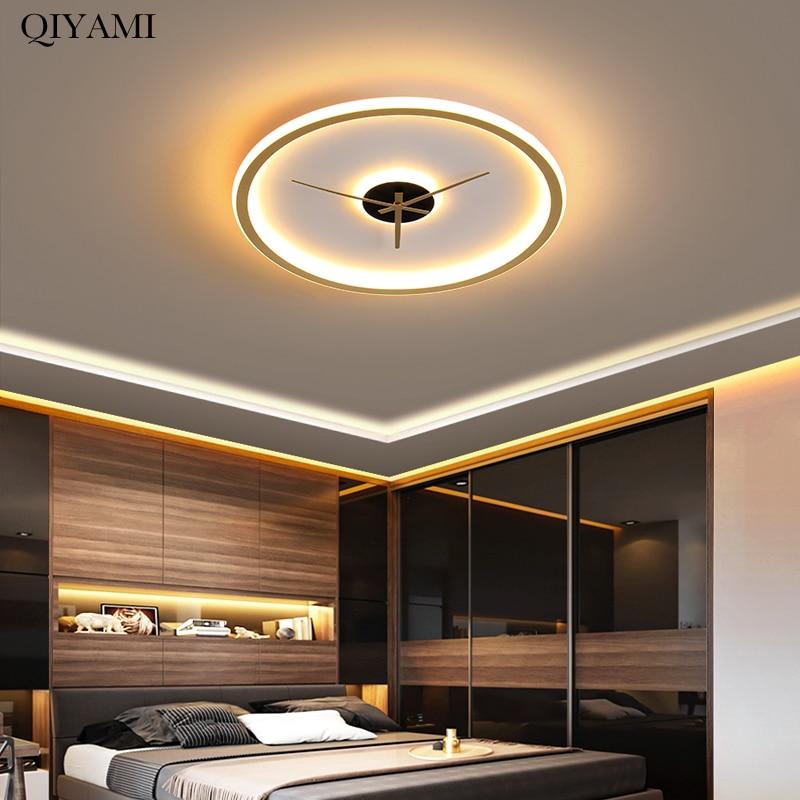Современные светодиодные потолочные лампы для гостиной спальни комнатные круглые золотые лампы домашняя декорация освещение люстры AC90-260V