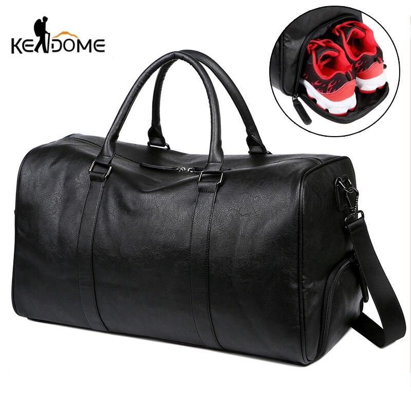 Дорожная сумка из искусственной кожи, вместительный мессенджер на ремне с карманом для обуви, для фитнеса, йоги, чемодан для хранения вещей, ...