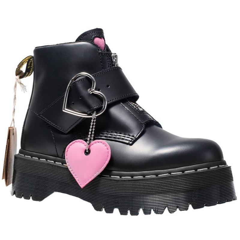 Genuine Leather Love Women Ankle Boots Platform Boots Women Martens Autumn Botas Mujer Female Comfortable Shoe Thigh High Boots prowow new high quality genuine leather lace up women winter boots sexy platform boots chunky heel boots botas mujer