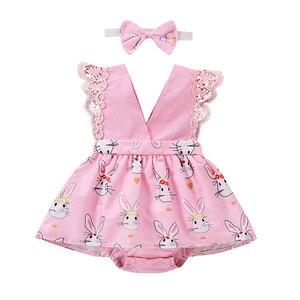 Toddler Baby Cartoon Printing Bodysuits Infant Girl's V-collar Sleeveless Bodysuit Skirt + Headband Set Infant Girls Clothing