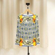 Nueva camisa de manga larga de seda elástica para mujer con diseño romántico y colorido de seda elástica