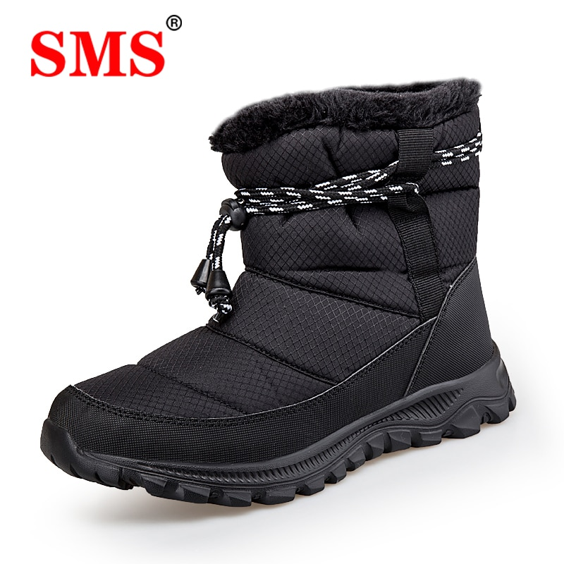 SMS Botas de nieve para hombre, Botas antideslizantes para hombre, Botas de invierno de piel, botines cálidos para senderismo, botines impermeables para Mujer