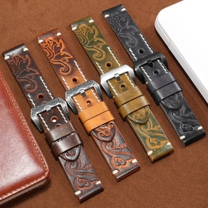 Carving Genuine Leather Strap Suitable For Panerai Tissot Men's Watch Accessories 18 20 22 24mm Black Red Yellow Orange