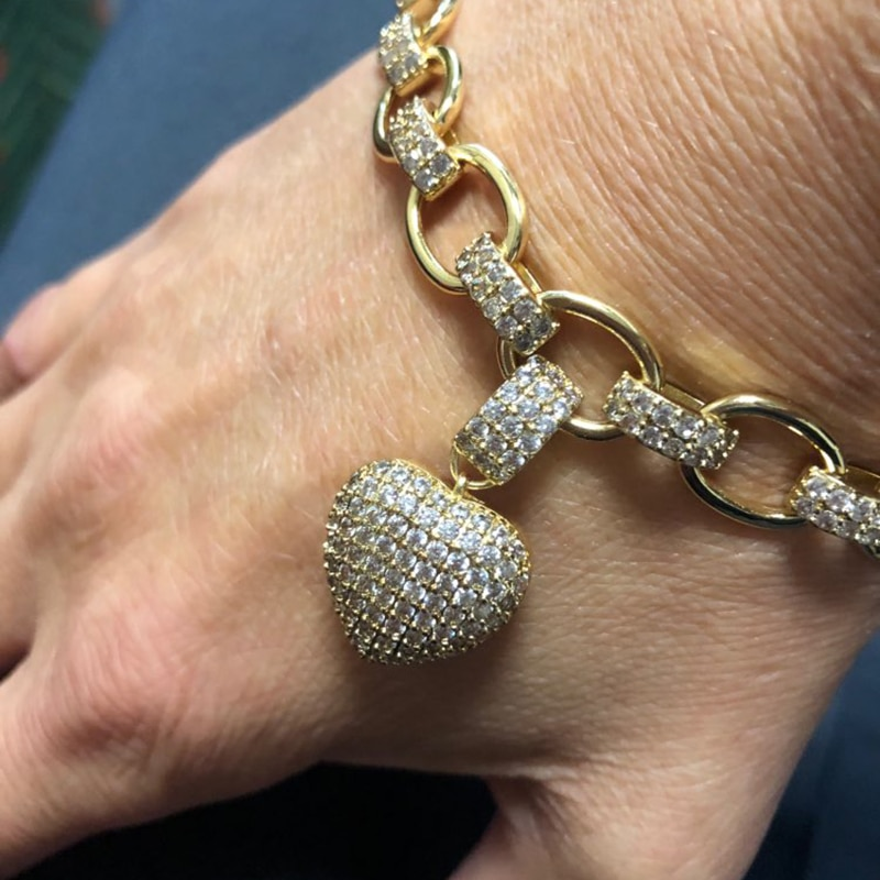 GODKI Trendy Herz Charme Halskette Armband Set Für Frauen Hochzeit Braut Cubic Zirkon Shell Dubai PARTY HOCHZEIT Schmuck BOHO2019