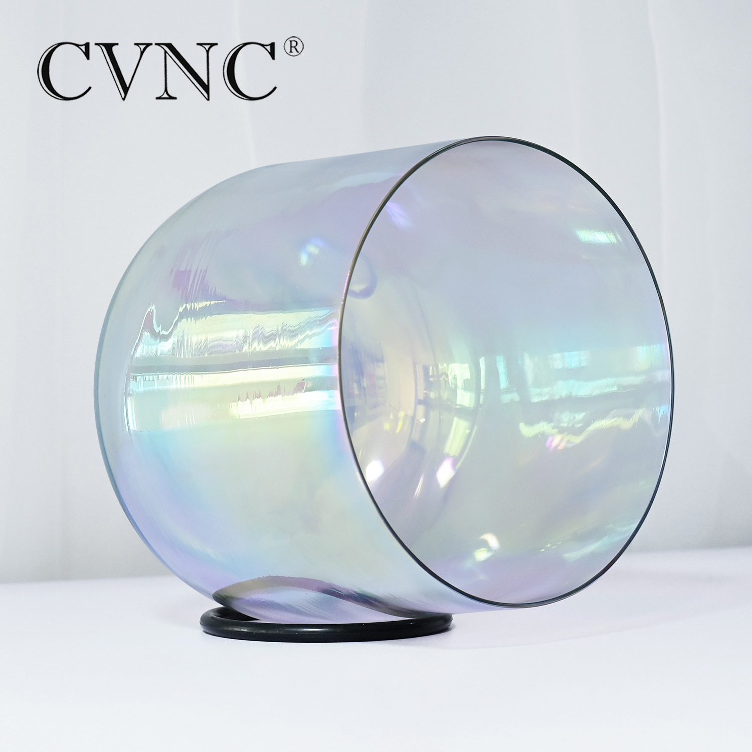 CVNC 7 Inch Gray Clear Cosmic Light Quartz Crystal Singing Bowl with Cosmic Light 432Hz 4 Octave with Free Suede Mallet enlarge