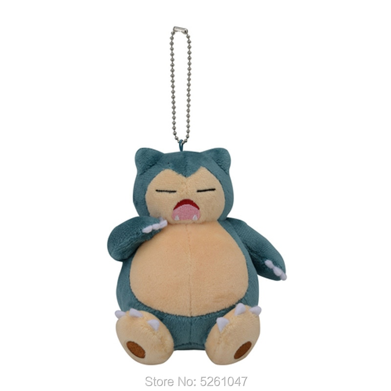 Original Pocket Monster Sleeping Yawn Snorlax Plush Doll Stuffed Animal Toy Key Chain 14cm 2019 Ver. Kid Gift