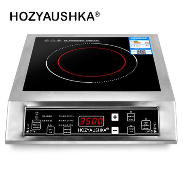 Индукционная плита 3500 Вт Бытовая высокомощная Коммерческая плоская настольная кнопка из нержавеющей стали для супа и мешков фри HOZYAUSHKA|Бытовая техника|| | АлиЭкспресс