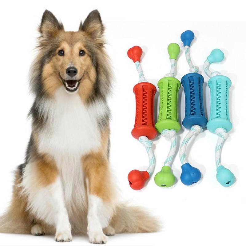 Dog Rubber Toys Pet Molar Teeth Cleaner Stick Good for Intelligence Threading Chewing Bite Interactive Polychromatic