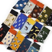 Chaussettes en coton pour hommes chaussettes dart de couleur Multi motif longue concepteur StreetWear Hip Hop heureux chaussettes de planche à roulettes drôles robe pour hommes
