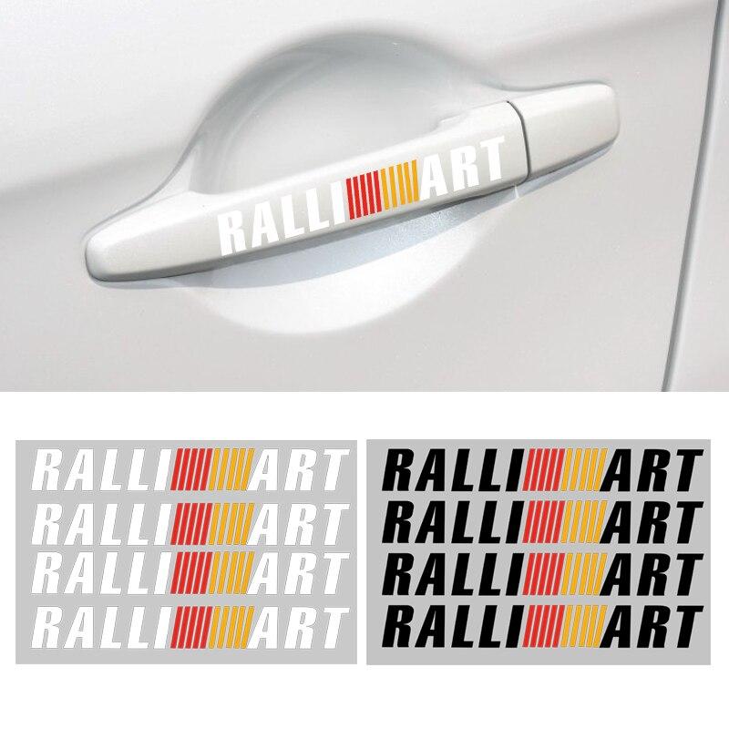4pcs RALLI ART car door handle sticker sports sticker Auto Ralliart for mitsubishis lancer asx outlander pajero galant