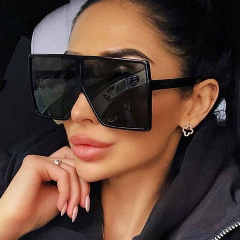 Classic Vintage Square Sunglasses Woman Siamese Oversized Sunglasses Woman/Men Retro Sunglasses Lent